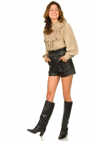 ba&sh |  Leather shorts Kate | black  | Picture 4