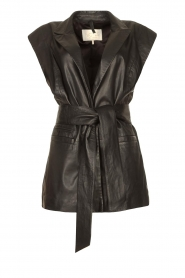 Notes Du Nord |  Lamb leather gilet with waistbelt Viva | black  | Picture 1