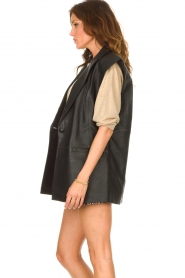 Notes Du Nord |  Lamb leather gilet with waistbelt Viva | black  | Picture 6