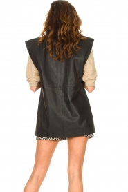 Notes Du Nord |  Lamb leather gilet with waistbelt Viva | black  | Picture 7