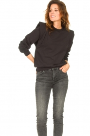 Notes Du Nord |  Sweater with ruffles Simone | black  | Picture 2