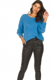 Les Favorites |  Knitted sweater with lurex Sky | blue  | Picture 2