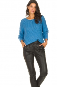 Les Favorites |  Knitted sweater with lurex Sky | blue  | Picture 4