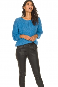 Les Favorites |  Knitted sweater with lurex Sky | blue  | Picture 5