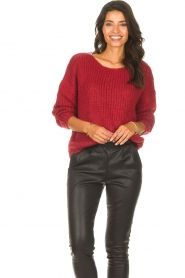 Les Favorites |  Knitted sweater with lurex Sky | red  | Picture 4