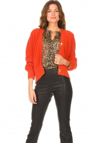Les Favorites |  Knitted cardigan with buttons Sienna | red  | Picture 2