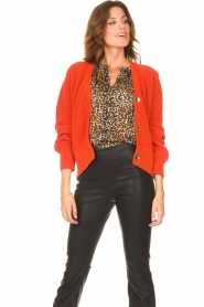 Les Favorites |  Knitted cardigan with buttons Sienna | red  | Picture 4