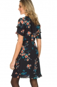 Kocca |  Wrap dress with florals Accro | black  | Picture 6