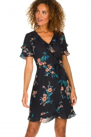 Kocca |  Wrap dress with florals Accro | black  | Picture 2