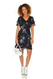 Kocca |  Wrap dress with florals Accro | black  | Picture 3