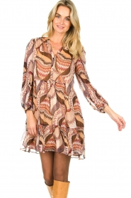 ba&sh :  Printed dress Twist | beige - img2