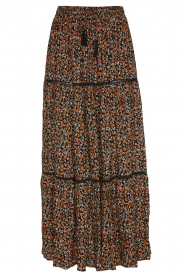 Les Favorites |  Printed maxi skirt Lot | black  | Picture 1