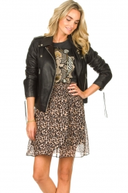 Les Favorites |  Skirt with panther print Fleur | black  | Picture 5