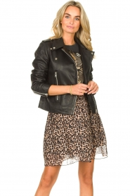 Les Favorites |  Skirt with panther print Fleur | black  | Picture 2
