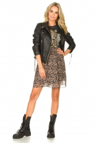 Les Favorites |  Skirt with panther print Fleur | black  | Picture 3