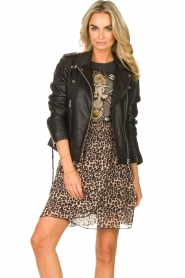 Les Favorites |  Skirt with panther print Fleur | black  | Picture 4