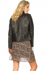 Les Favorites |  Skirt with panther print Fleur | black  | Picture 7