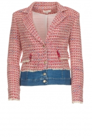 Kocca |  Boucle jacket with denim Lappon | red  | Picture 1