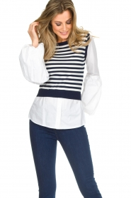 Kocca |  Sweater with blouse details Milugy | white  | Picture 4