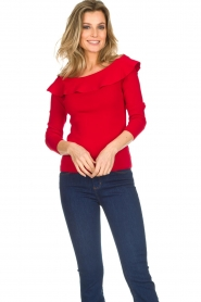 Kocca |  Off-shoulder sweater Orlando | red  | Picture 2