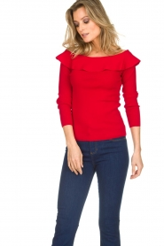 Kocca |  Off-shoulder sweater Orlando | red  | Picture 3