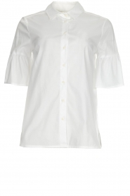 Kocca |  Blouse with trumpet sleeves Brody | white  | Picture 1