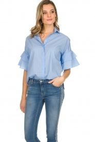 Kocca |  Striped blouse Iand | blue  | Picture 4