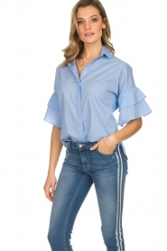 Kocca |  Striped blouse Iand | blue  | Picture 2