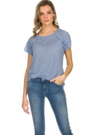 Kocca |  Glitter top with ruffles | blue  | Picture 2