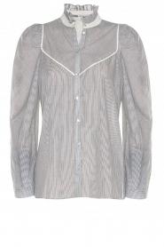 Les Favorites |  Striped cotton blouse Teddy | blue  | Picture 1