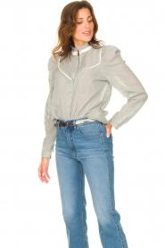 Les Favorites |  Striped cotton blouse Teddy | blue  | Picture 2