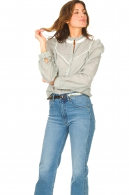 Les Favorites |  Striped cotton blouse Teddy | blue  | Picture 4