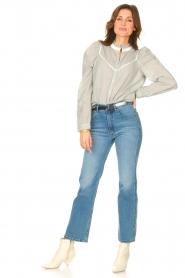 Les Favorites |  Striped cotton blouse Teddy | blue  | Picture 3