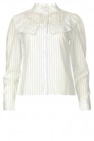 Les Favorites |  Striped cotton blouse Gerrie | white  | Picture 1