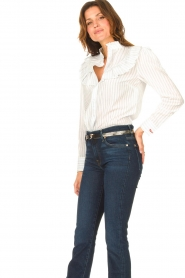 Les Favorites |  Striped cotton blouse Gerrie | white  | Picture 2