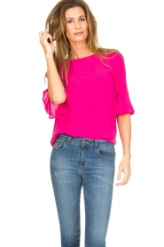 Kocca |  Top with trumpet sleeves Orange | pink  | Picture 2