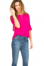 Kocca |  Top with trumpet sleeves Orange | pink  | Picture 4
