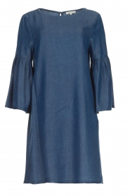 Kocca |  Denim dress with trumpet sleeves Roman | blue  | Picture 1