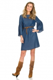 Kocca |  Denim dress with trumpet sleeves Roman | blue  | Picture 3