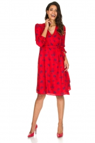 Set |  Dress Brigitta with flower print | Red  | Picture 3