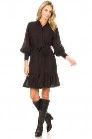 Aaiko |  Dress with tie belt Fana | black  | Picture 3