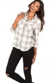 Bella Dahl | Flanellen blouse Check | grijs  | Afbeelding 2