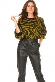 Aaiko |  Zebra print sweater Anna | green  | Picture 5