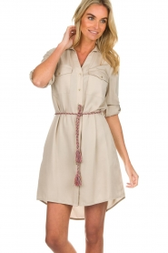 Kocca |  Blouse dress with cord Tangela | beige  | Picture 2