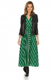 Kocca |  Striped maxi dress with glitters Melia | green  | Picture 3
