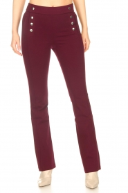Aaiko |   Trousers with decorative buttons Solla | bordeaux  | Picture 4
