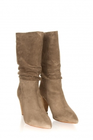 ba&sh :  Suede baggy boots Clem | beige - img3