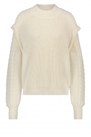 Aaiko |  Knitted sweater with shoulder details Ayla | natural  | Picture 1