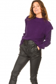 Aaiko    Knitted sweater with shoulder details Ayla   purple    Picture 4
