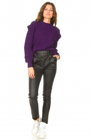 Aaiko    Knitted sweater with shoulder details Ayla   purple    Picture 3